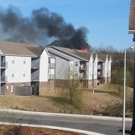Brookstone Apartments on Fire at Fayetteville NC Cliffdale Rd