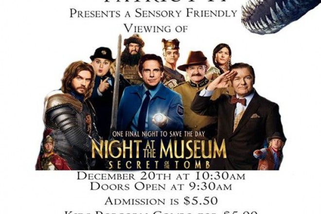 Movie Deal for Kids Dec 20th at New Patriot 14 Theaters, Sensory-Friendly Event