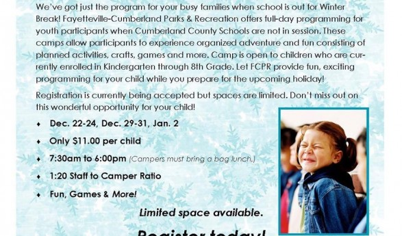 Kids Winter Break Camp Only $11 by Fay Parks & Rec