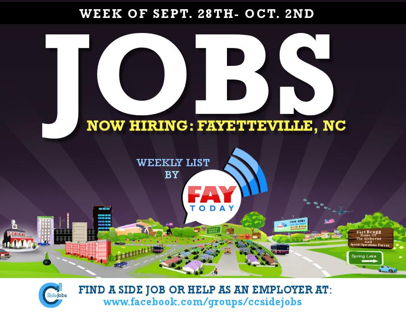 Job Openings Near Fayetteville Nc Week Of September 28