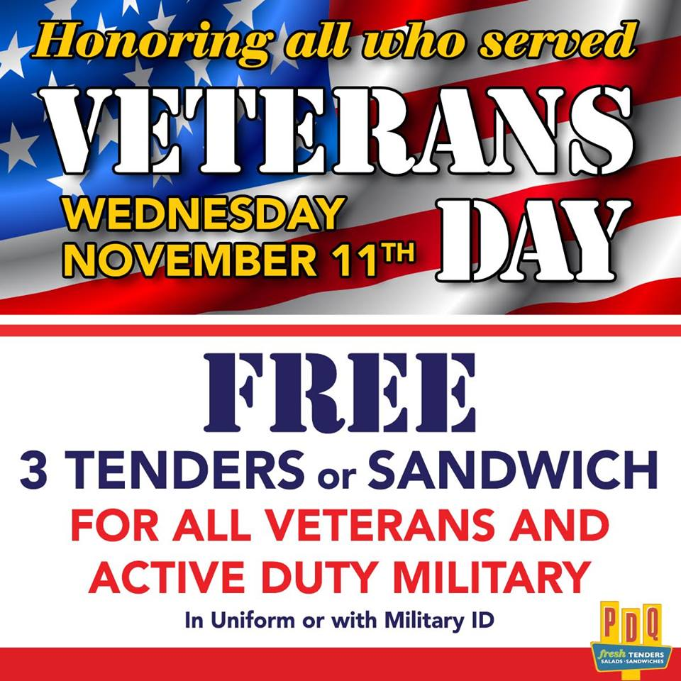 2015 veterans day deals for the fayetteville nc region faytoday for Does olive garden give military discount